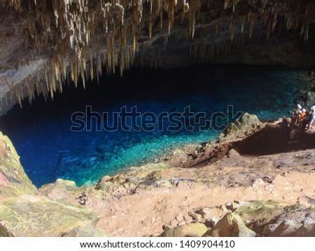 Gruta do Lago Azul Natural Monument (Blue Lake Cave) in Bonito, Mato Grosso do Sul, Brazil                               Foto stock ©
