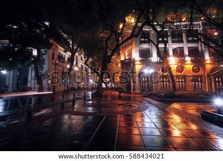 Guangzhou city, China -  night city view after the rain (Shamien Island)