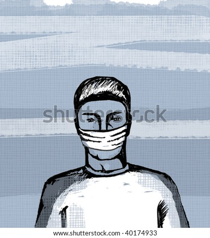 """""""guard your health"""", prevention of influenza, illustration"""