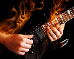Guitarist with fire.