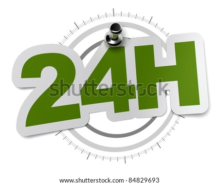24H, twenty four hours sticker over a gray watch dial, image over a white background