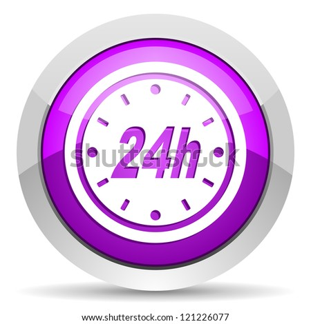 24h violet glossy icon on white background