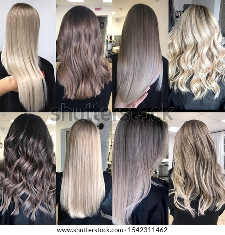 Hair of different colors coloured in difficult technicals balayage shatush  Photo stock ©
