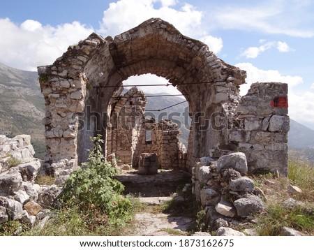 Haj - Nehaj fortress ruins, Sutomore, Montenegro Stock fotó ©