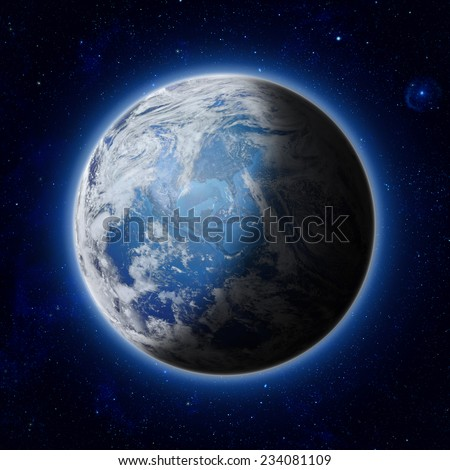 Stock Photo  half illuminated, half shadow of Blue Planet Earth with some clouds and stars in the dark sky. America, USA path of global blue World in space. Elements of this image furnished by NASA
