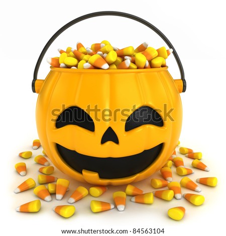 0064_Halloween - 3D render of a halloween basket - stock photo