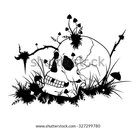 Halloween illustration with skull  and mushrooms in black and white colors