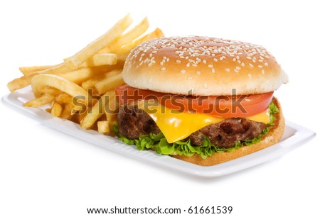 hamburger with vegetables and fries on white background