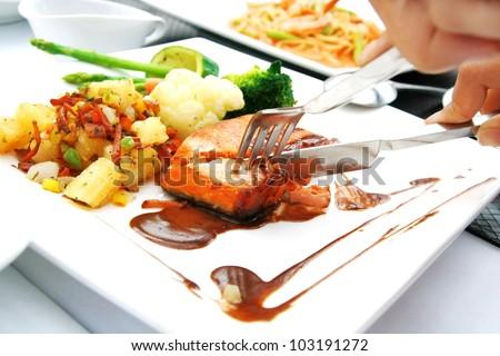 hand cut fish steak - stock photo