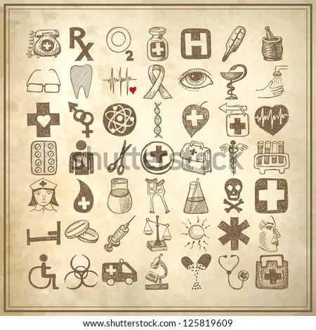 49 hand drawing doodle icon set on grunge paper background, medical theme, raster version