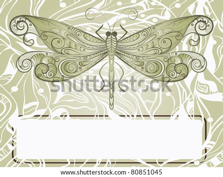 hand drawn beautiful dragonfly on abstract background, vintage style, frame for your text