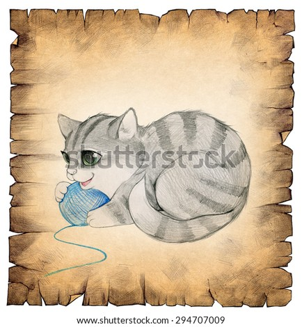 Hand drawn illustration of a vintage old paper scroll with a drawing of a cute kitten on it