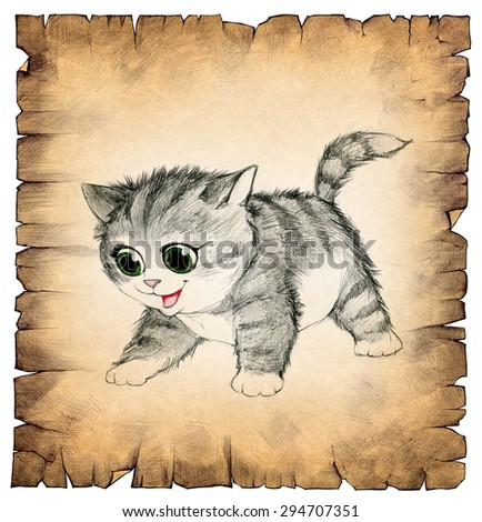 Hand drawn illustration of a vintage old paper scroll with a drawing of a little cute kitten on it