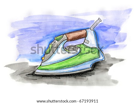 Hand drawn illustration of an iron on white background