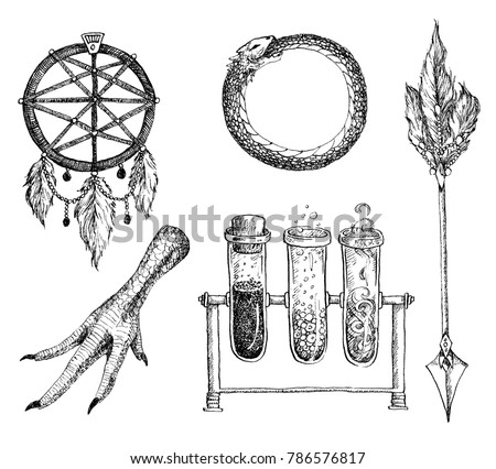 Hand drawn ink set of alchemy and magic items. Ritual items, Potions, magic symbols