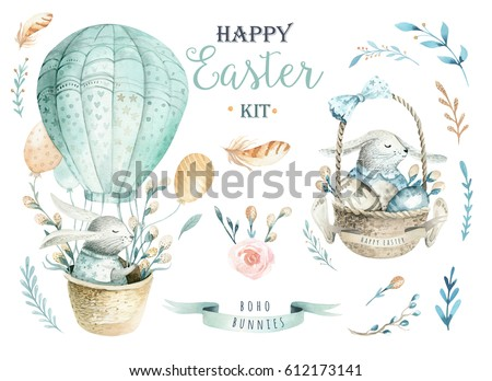 Hand drawn watercolor happy easter set with bunnies design.Rabbit bohemian style,  isolated boho illustration on white.