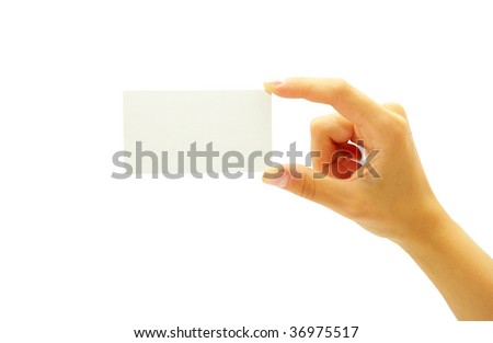 hand holding a blank business card