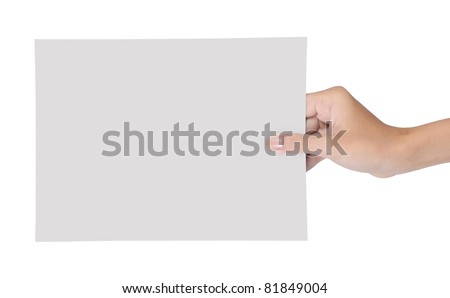 hand holding blank paper isolated on white background 2