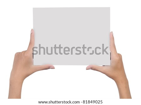 hand holding blank paper isolated on white background 6 - stock photo