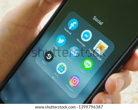 15/05/2019 hand holding Huawei P30 Pro with Social media application in home. New product from Huawei.