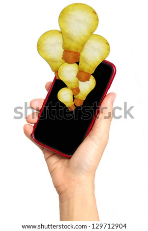 hand holding smartphone with Light Bulb