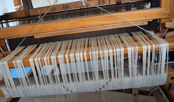 Hand-loom wooden loom. An old loom. Denizli. Turkey
