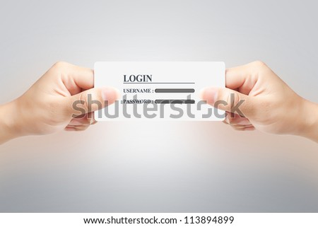 Hand of women holding signin paper label on white background