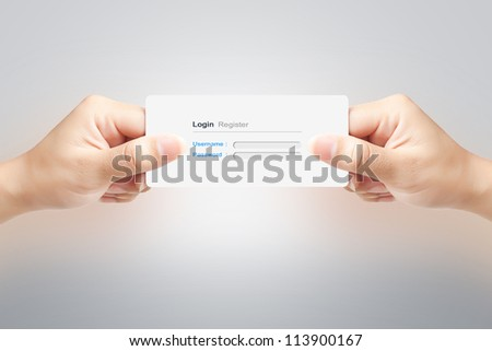 Hand of women holding signin paper label on white background - stock photo