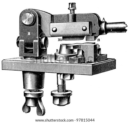 "hand scraper - an illustration for article ""Equipment for the production of coins"" of the encyclopedia publishers Education, St. Petersburg, Russian Empire, 1896"