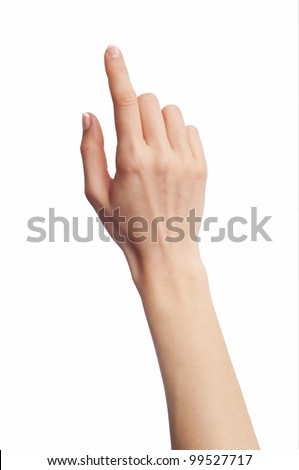 Hand touching virtual screen. Isolated on white.