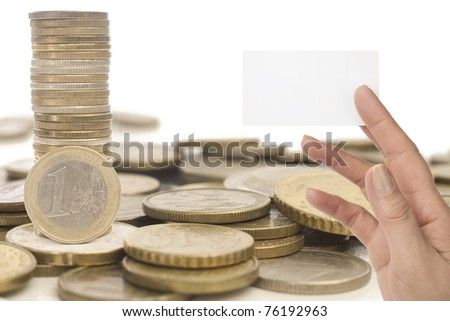 hand with blank business card  and money - concept for business, innovation, growth and money. isolated on white