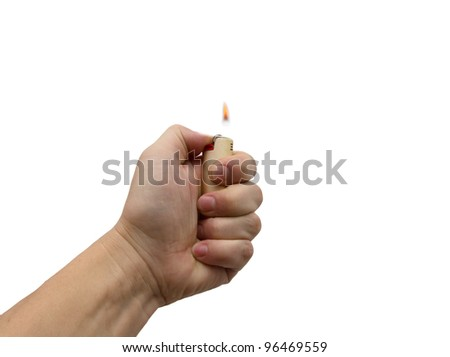 hand with cigarette lighter on a white background