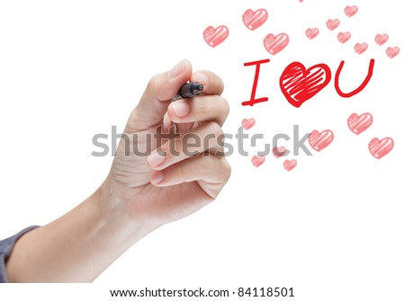 hand writing i love you message