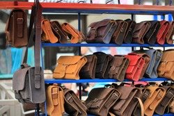 handmade leather bags at the fair