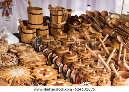 Handmade Wooden, Vintage Kitchen Utensils For Sale At The Market. Various Wooden  Kitchen Tools