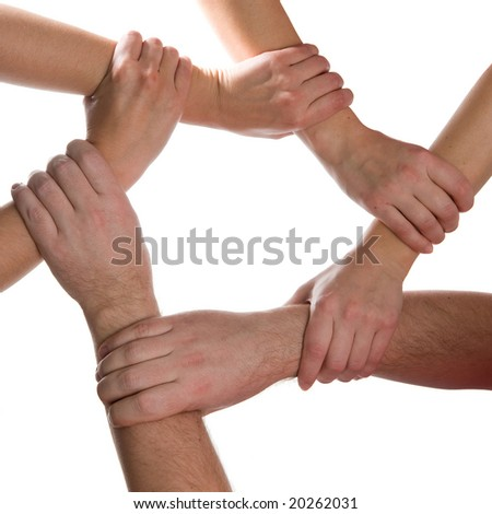 6 hands connected isolated on white background