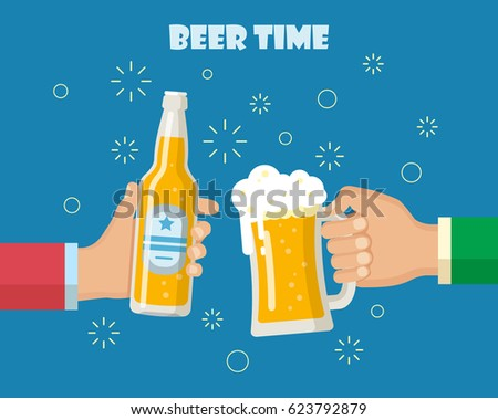 Hands holding beer glass and beer bottle. Concept of cheering people party celebration. Isolated  illustration flat design.