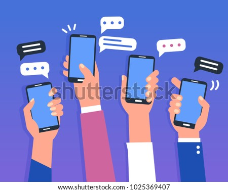 Hands holding smartphones. Social media chat concept. Flat style illustration.