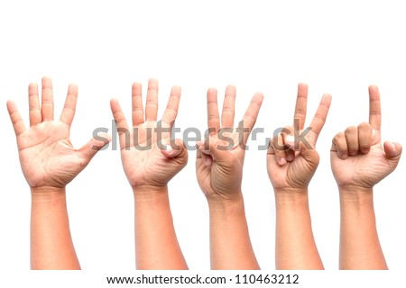1 2 3 4 5 hands isolated on white background.