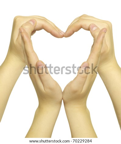 hands made in the form of heart