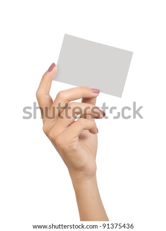 hands of a young woman carrying a blank card isolated on white background