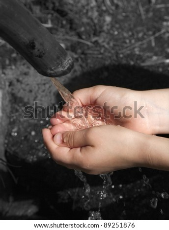 hands of child and spring