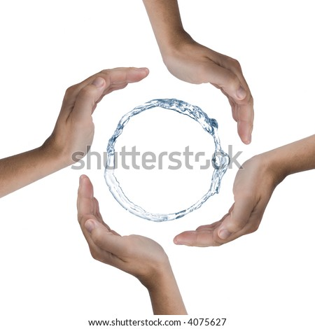 4 Hands Protecting A Ring Of Water. Picture Was Made In A Studio ...