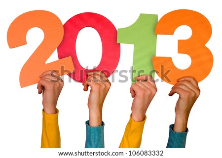 hands with color numbers shows future year 2013