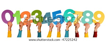 hands with different numbers, isolated on white background