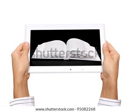 hands with electronic book
