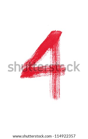4-Handwritten Watercolor number isolated on white background