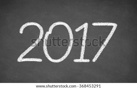 2017 - handwritten with white chalk on a blackboard #368453291