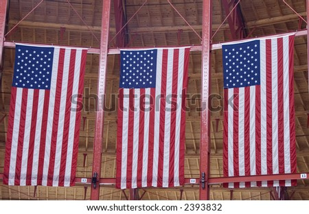 3 hanging American flags
