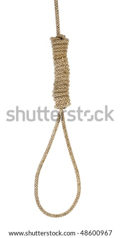 Hanging noose of rope isolated on white